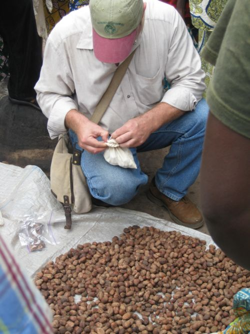 Peter examines nuts